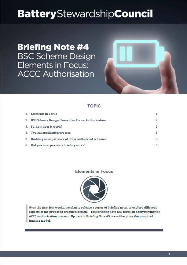 BSC Briefing Note #4: ACCC Authorisation 2019