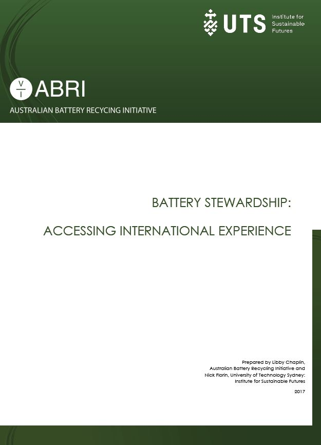 Accessing International Experience: <strong>Battery Stewardship</strong> 2018