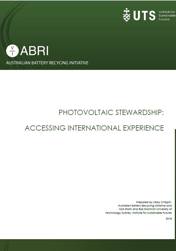 Accessing International Experience: Photo Voltaic Stewardship 2018