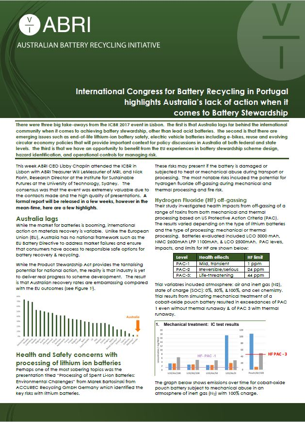 Update from the International Congress on Battery Recycling 2017