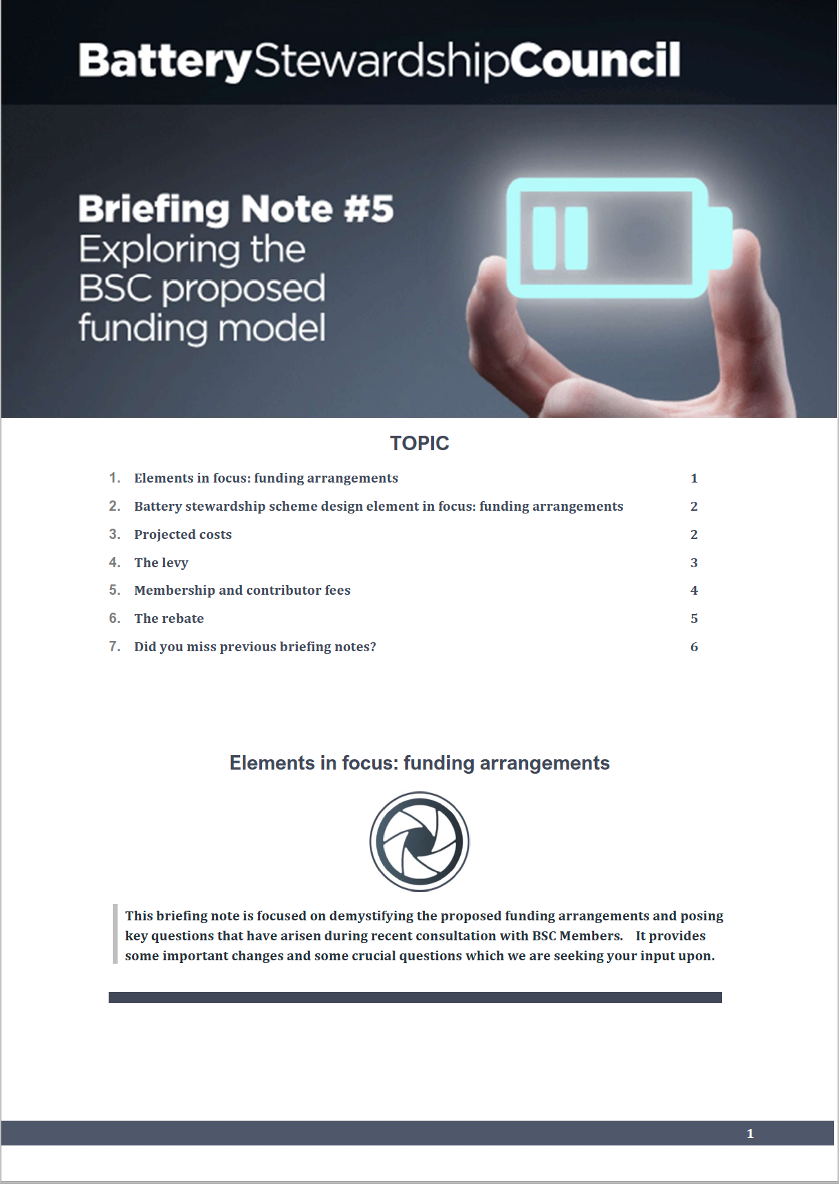 BSC Briefing Note #5: Proposed Funding Arrangements 2019