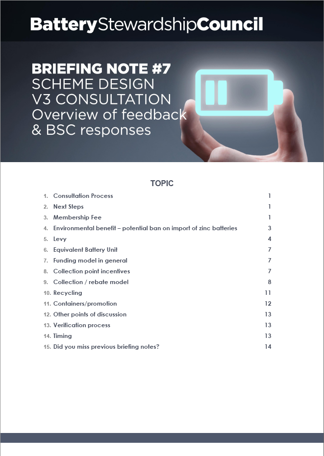 BSC Briefing Note #7: Scheme Design V3 – Overview of Feedback and changes