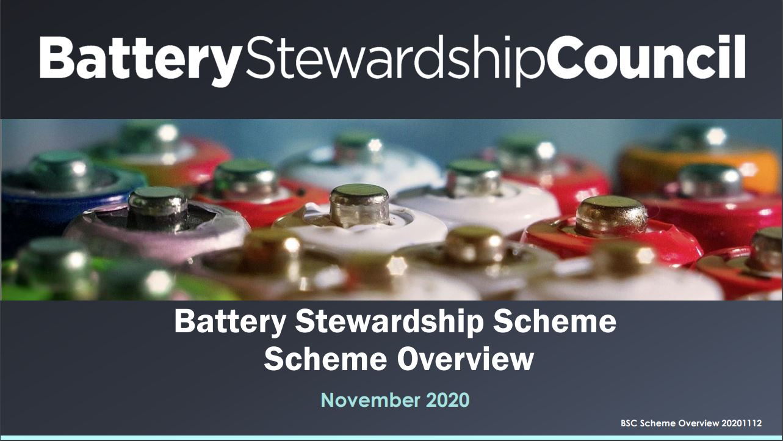 <strong>Battery Stewardship</strong> Scheme Overview presentation  15 December 2020