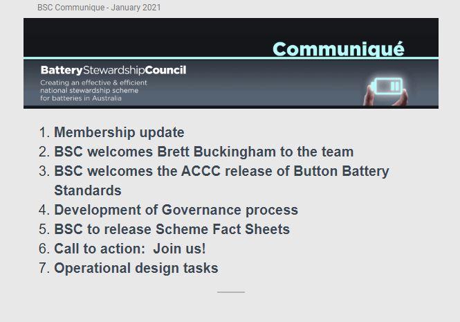 BSC Communique – 19 January 2021