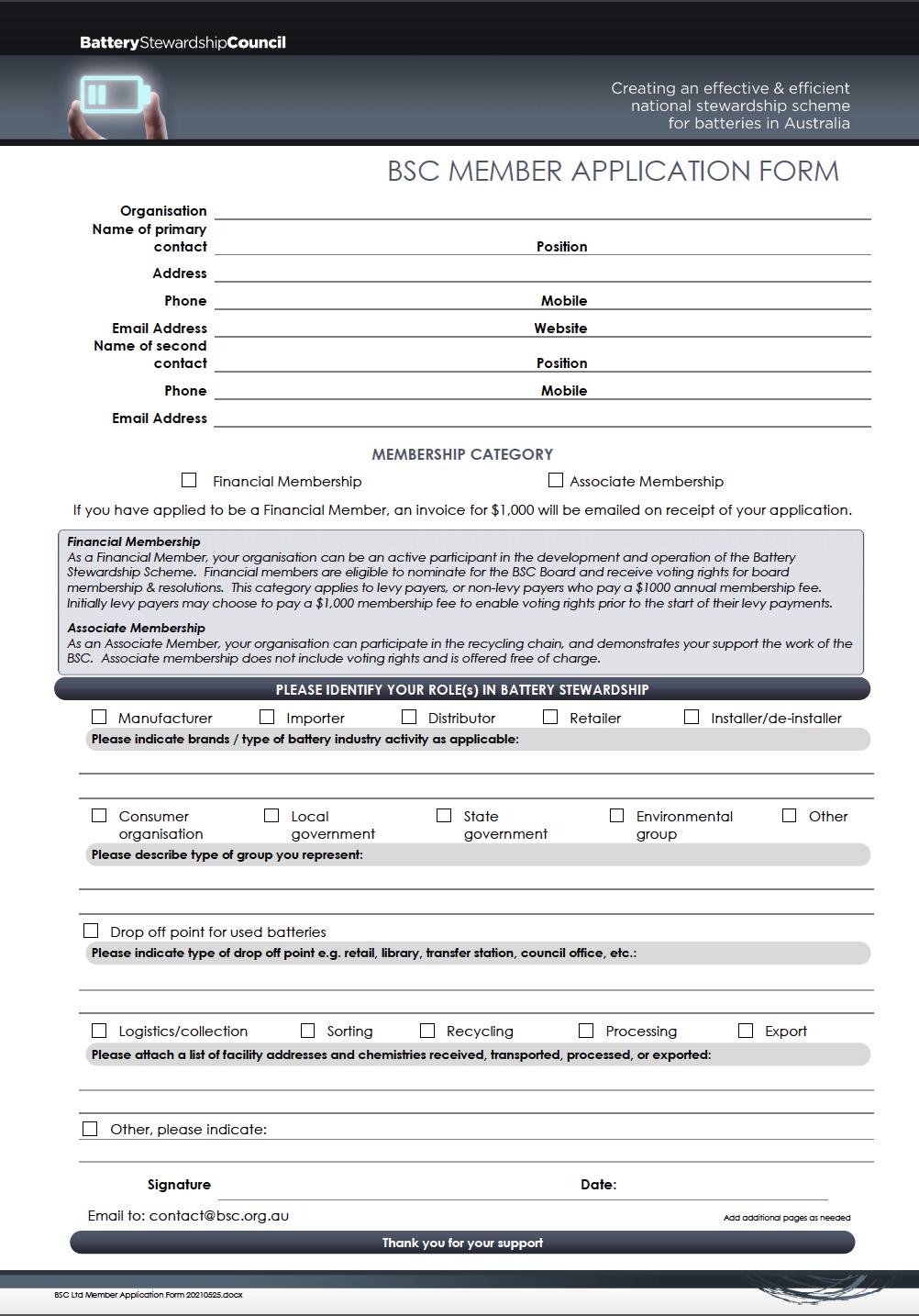 BSC Application Form
