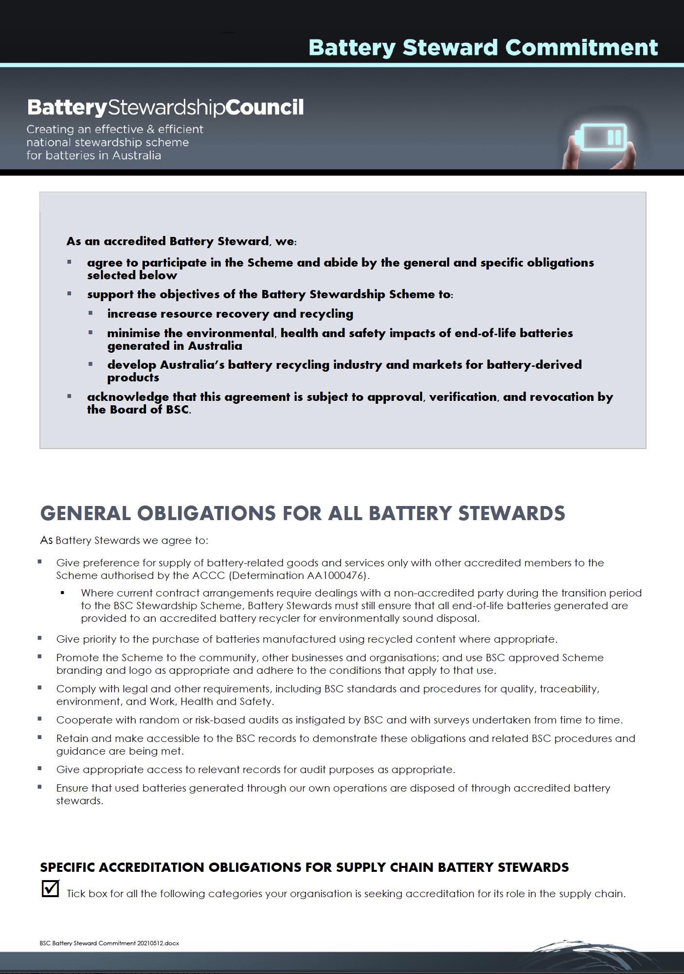 Battery Steward Commitment