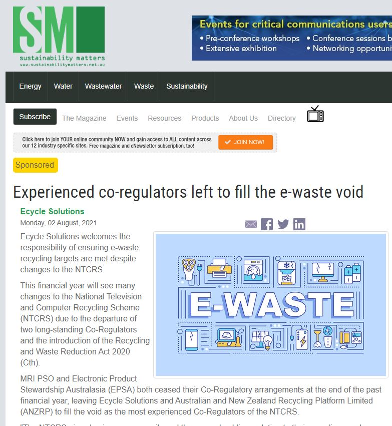 Experienced co-regulators left to fill the e-waste void