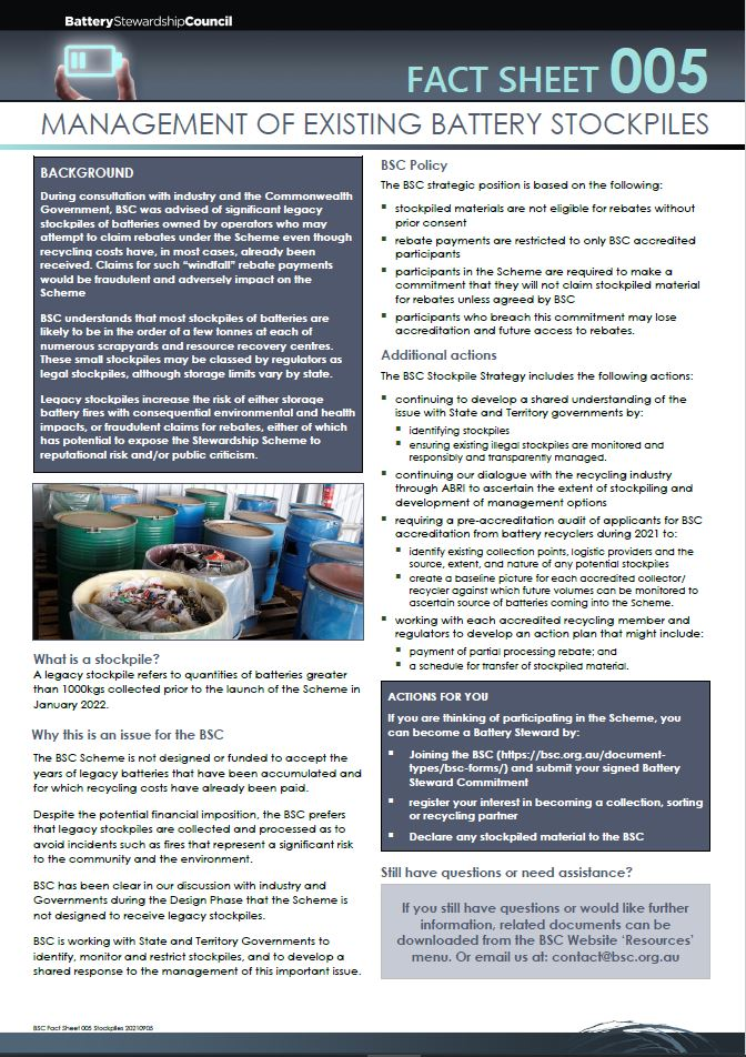 BSC Fact Sheet 005 – MANAGEMENT OF EXISTING BATTERY STOCKPILES