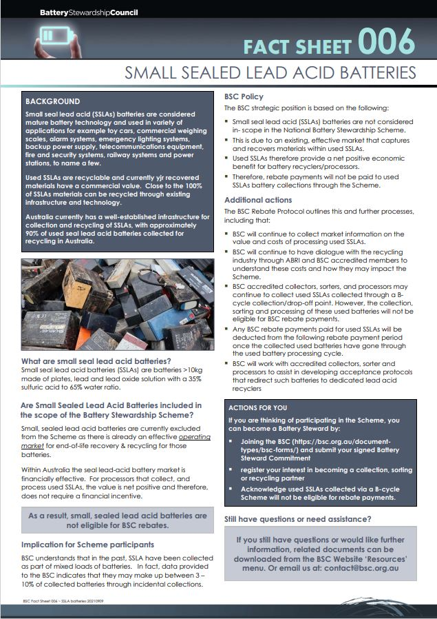 BSC Fact Sheet 006 – SMALL SEALED LEAD ACID BATTERIES